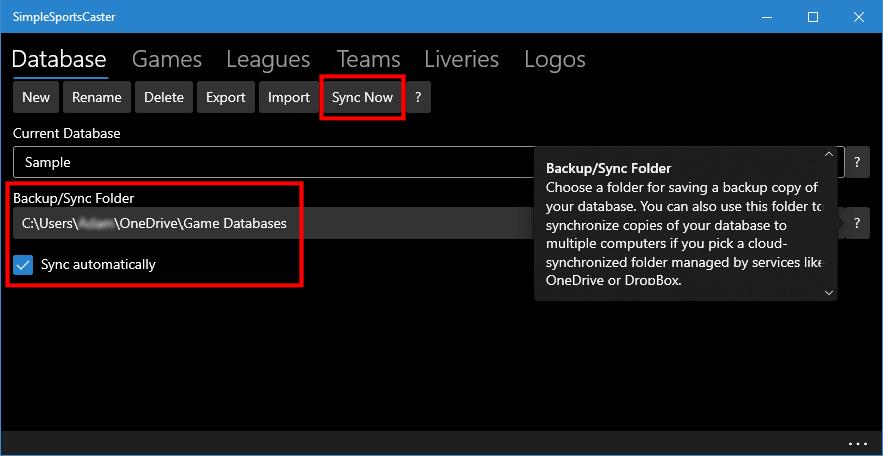 Database synchronization settings