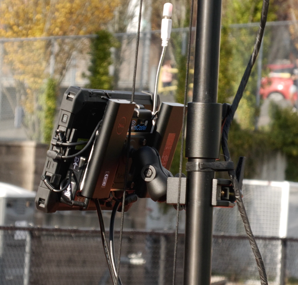Back view of completed rugged tablet clamped onto Hi-Pod pole
